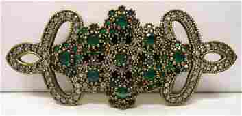 Sterling Emeralds  Marcasite Brooch