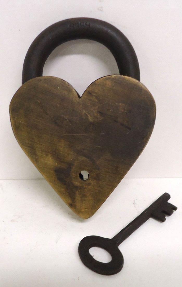Modern Brass Winchester Heart Lock - 2