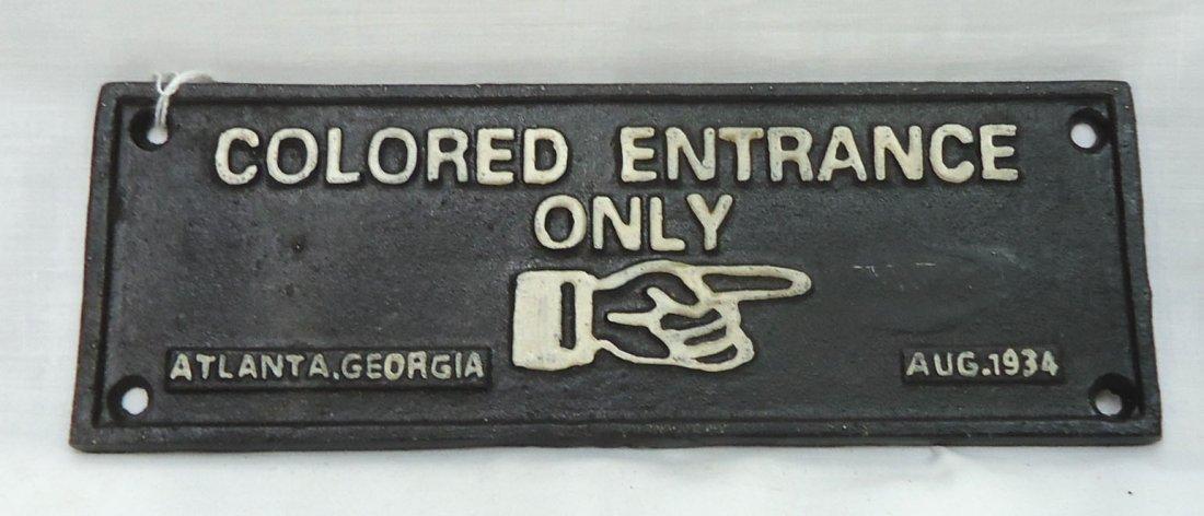 Modern C.I. Colored Entrance Only Sign