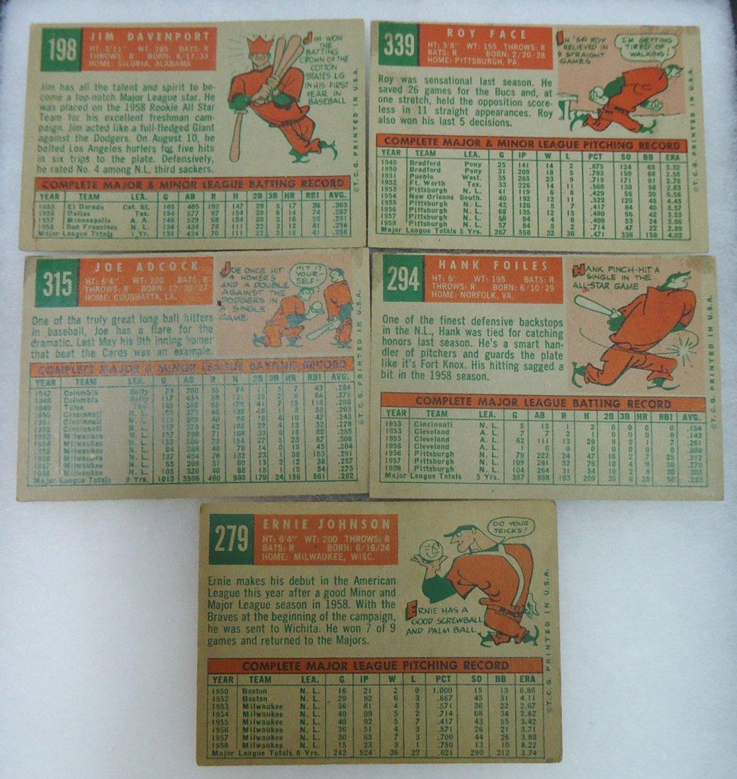 (5) 1959 Topps Baseball Cards - 2