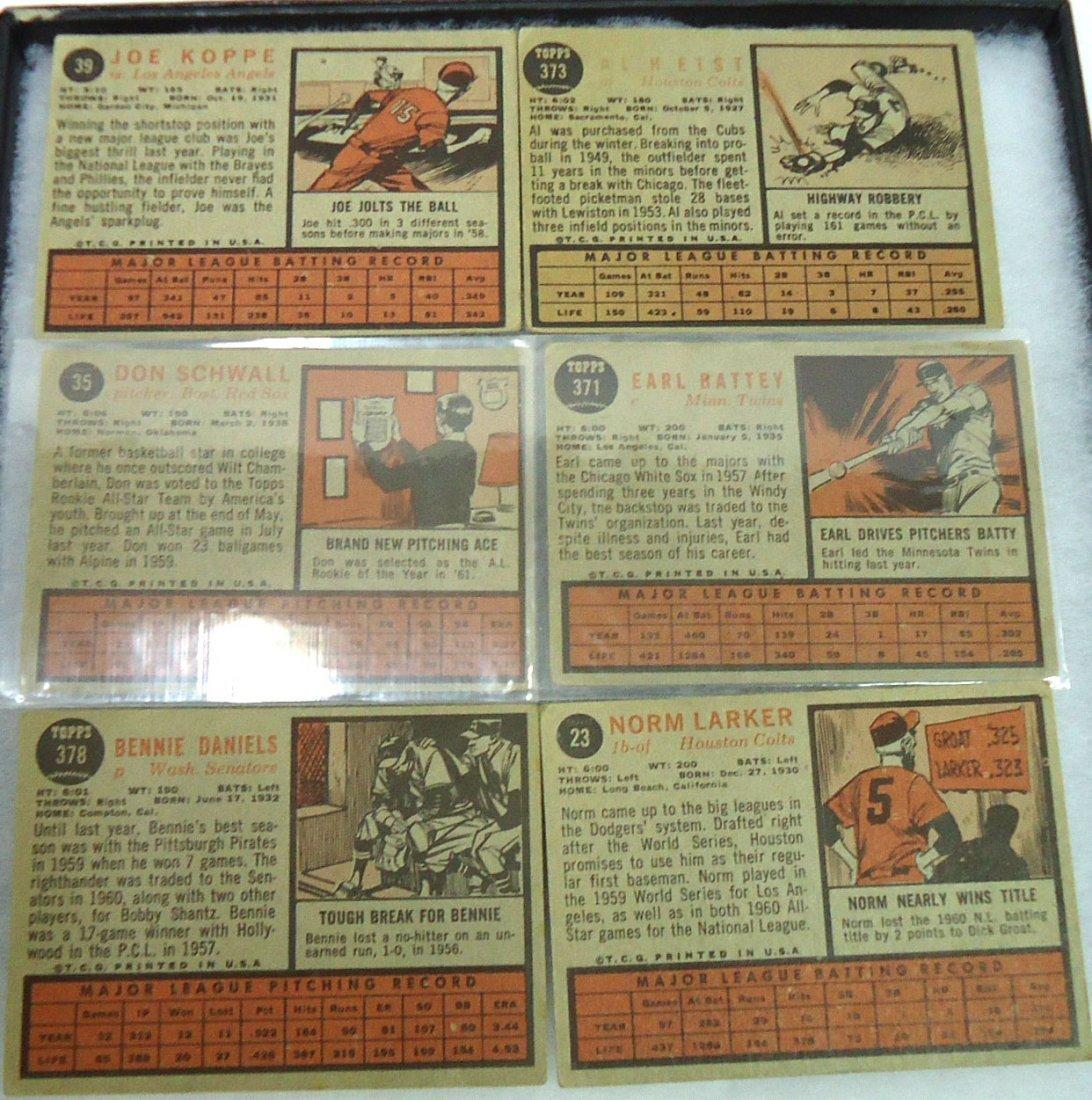 (6) 1962 Topps Baseball Cards - 2