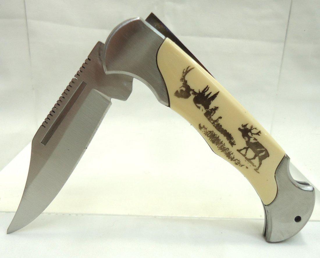"4 1/4"" Deer Handle Folding Knife"