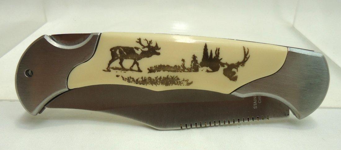 "4 1/4"" Deer Handle Folding Knife - 2"