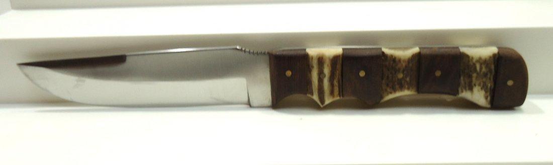 "9 1/2"" Stacked Bone Handle Hunting Knife - 2"