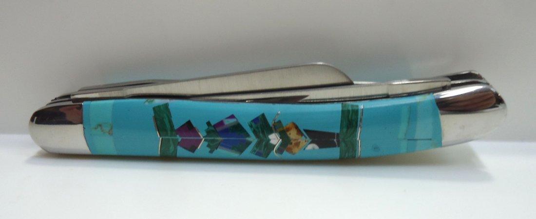 """3 1/2"""" Inlaid Turquoise Pocket Knife - 2"""