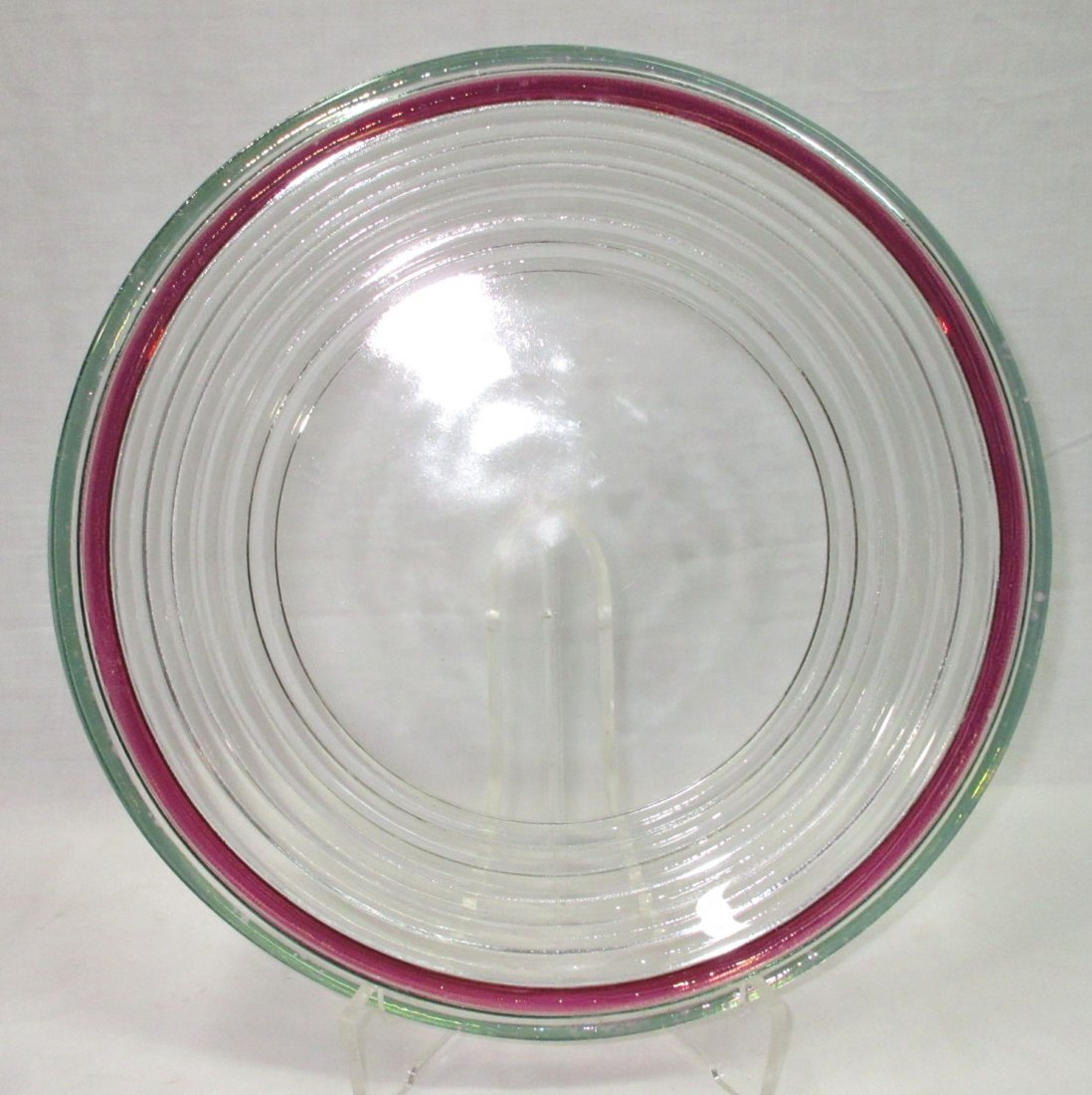 Vtg. Art Glass Console Bowl w/ Underplate - 2