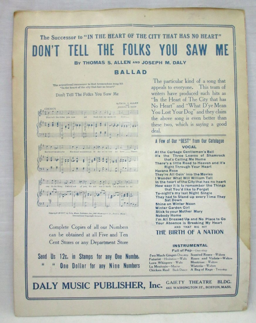 "1915 Sheet Music ""Birth of a Nation"" - 4"