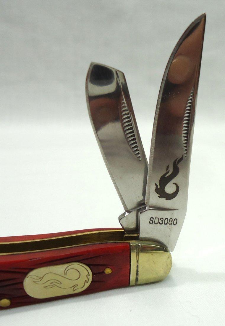 Red Bone Handle Pocket Knife - 2