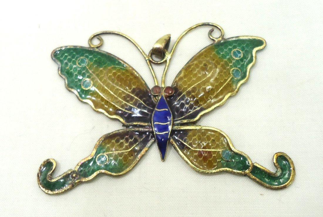 2 Plique a Jour Butterfly Pendants - 2