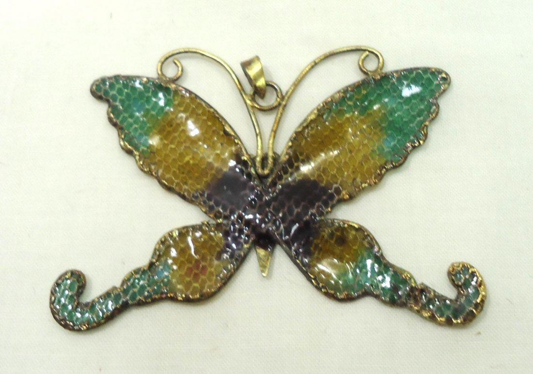 2 Plique a Jour Butterfly Pendants - 3