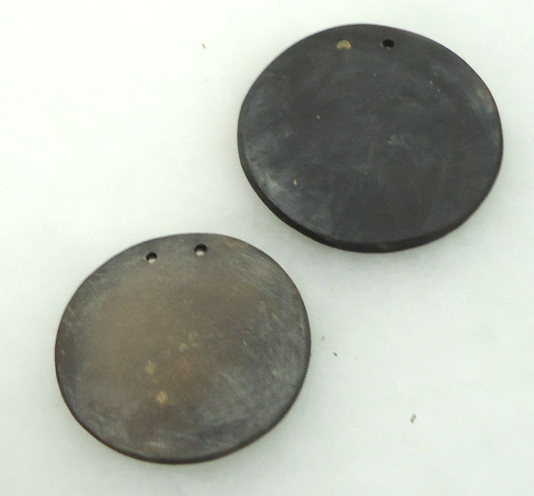 2 Incised Clay Pendants - 2