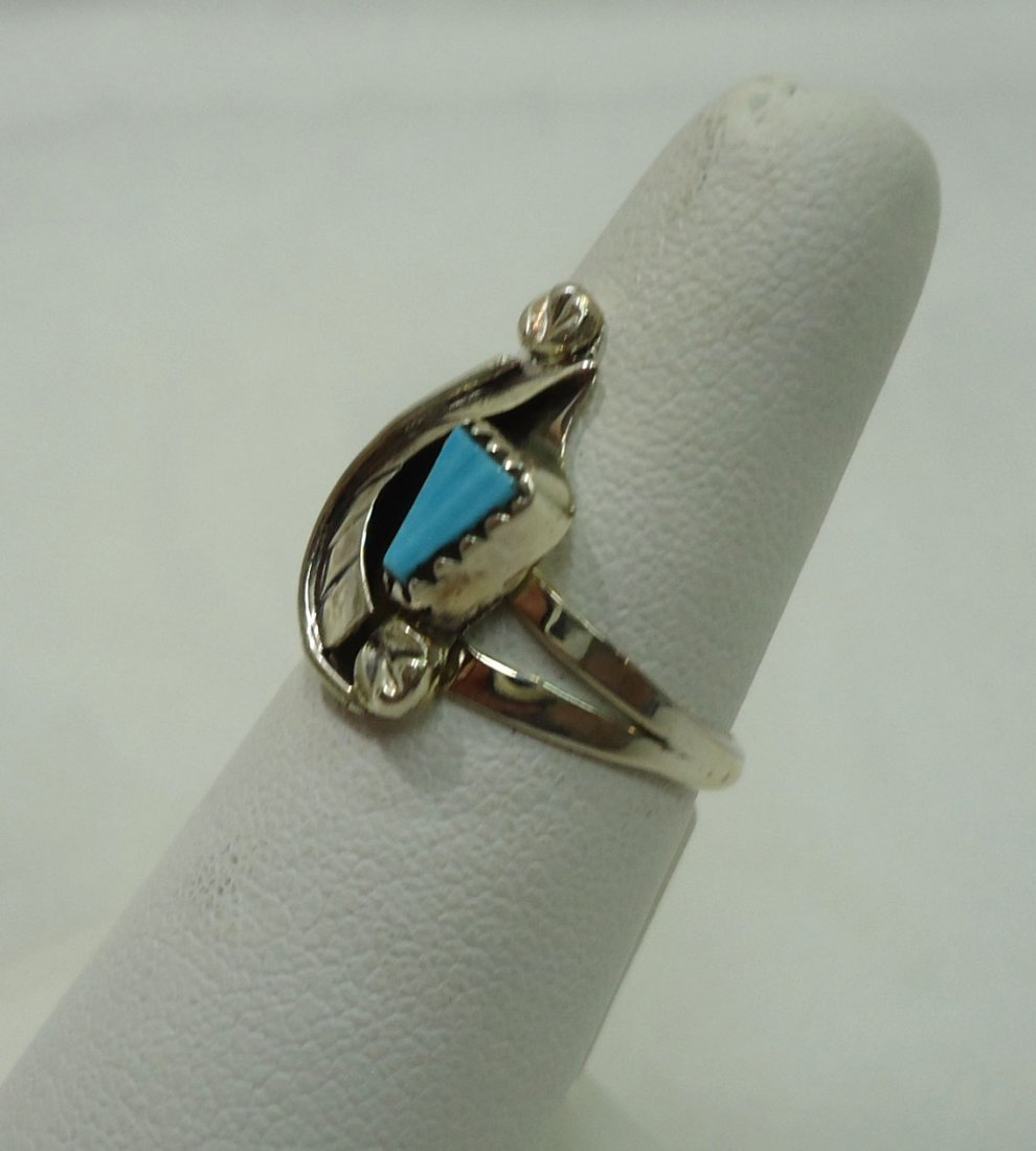 Zuni Sterling, Turquoise Ring - 2