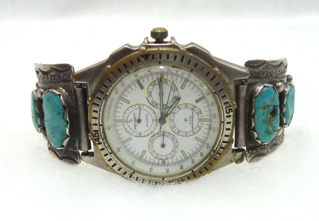 Peugeot Chronograph Navajo Sterling Turq. Band