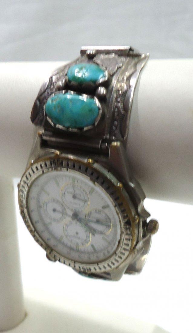 Peugeot Chronograph Navajo Sterling Turq. Band - 2