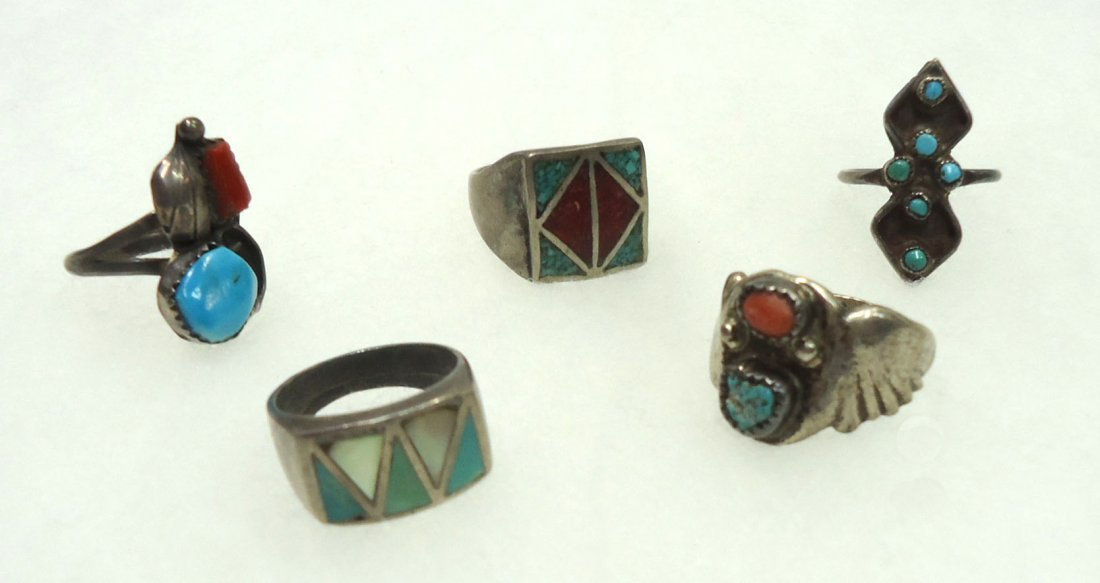 5 Sterling Turq. Rings