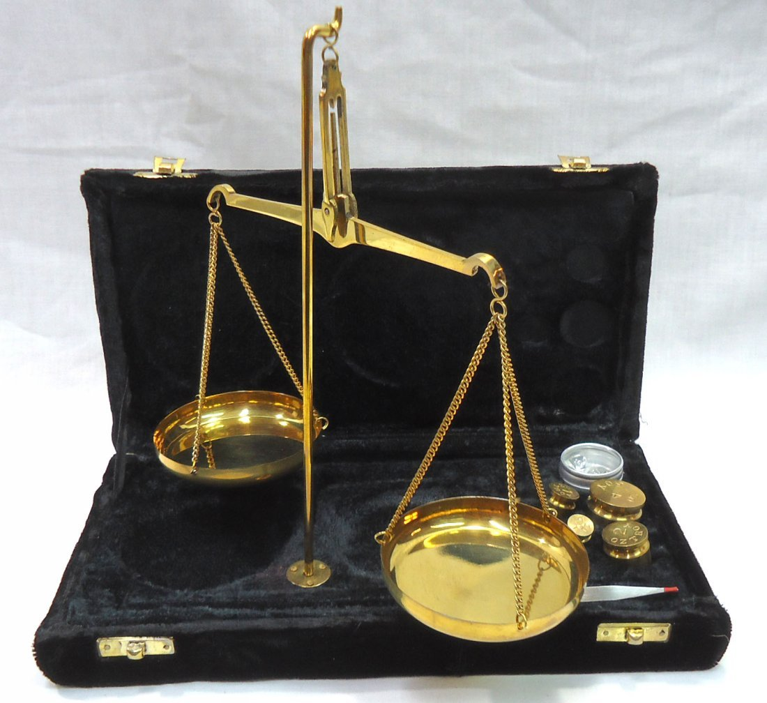 Modern Brass Set of Gold Scales
