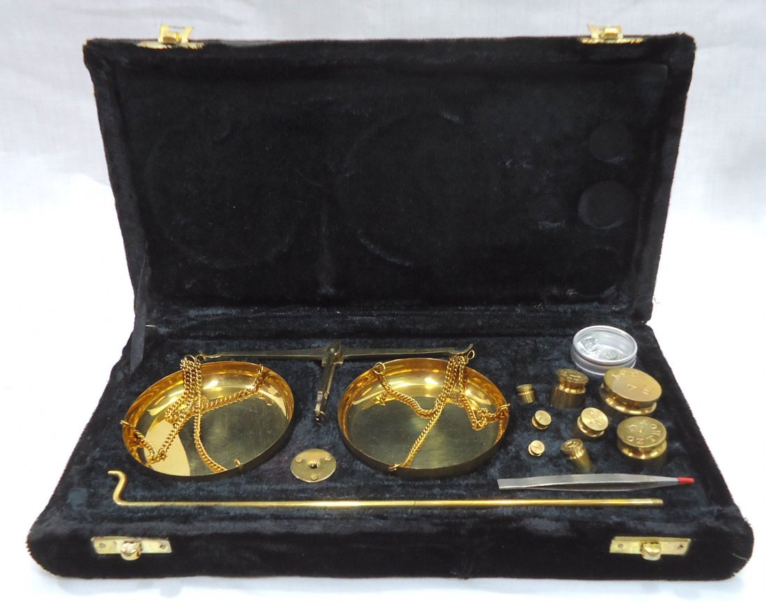 Modern Brass Set of Gold Scales - 3