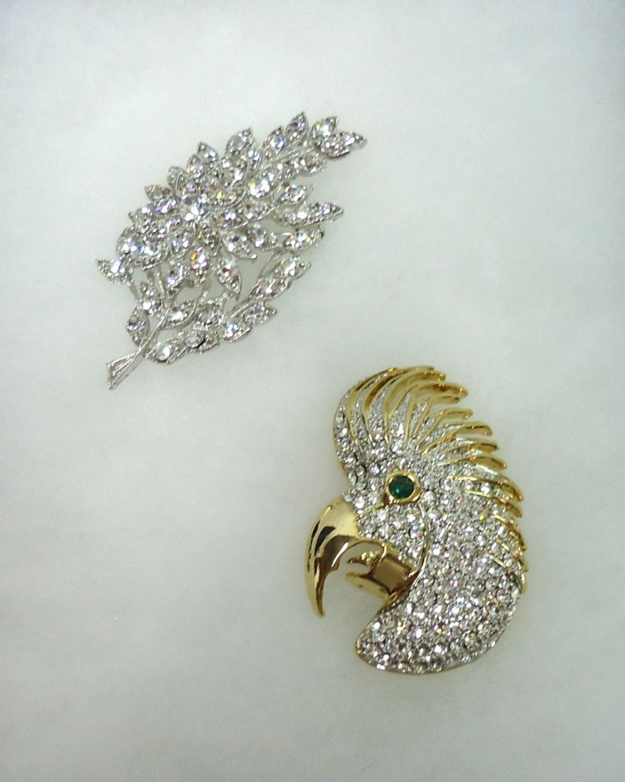 2- Costume Rhinestone Brooches