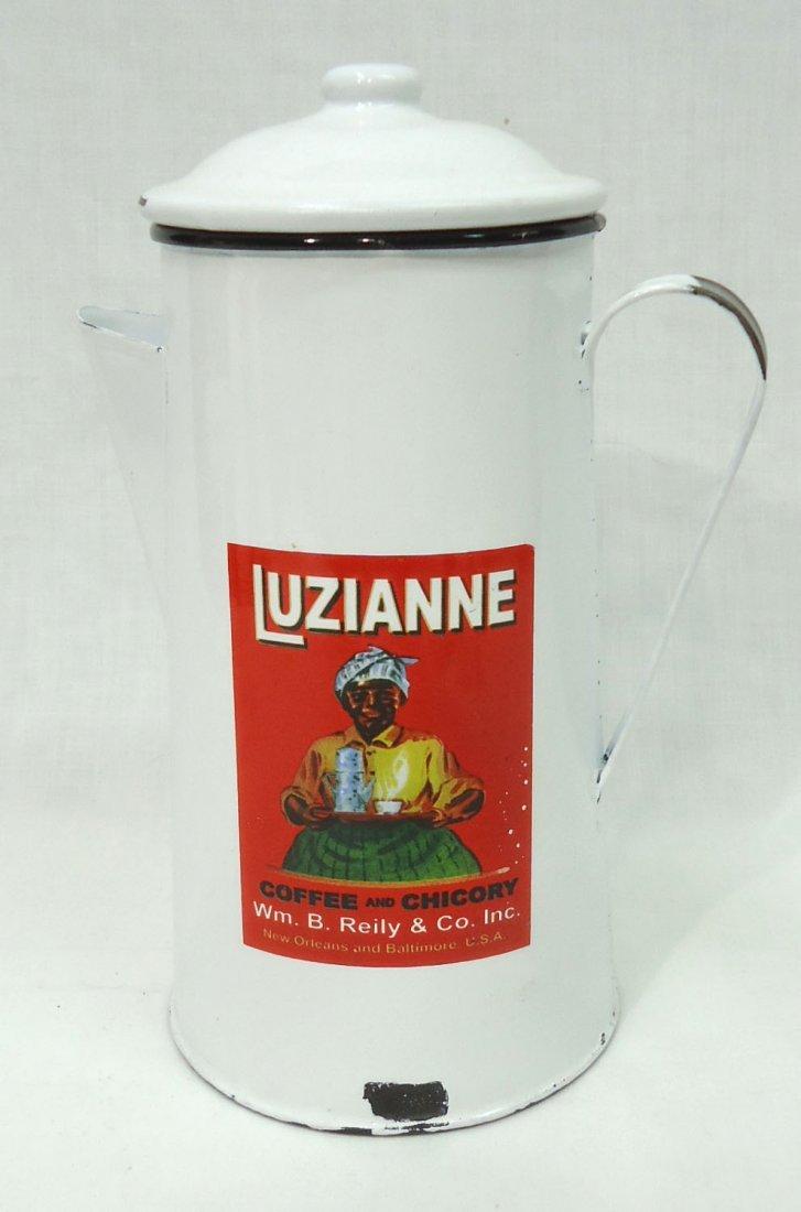 Modern Enameled Luzianne Coffee  Pot