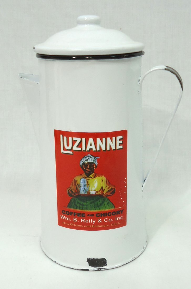 Modern Enameled Luzianne Coffee  Pot