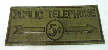 Modern Cast Iron Public Telephone Sign