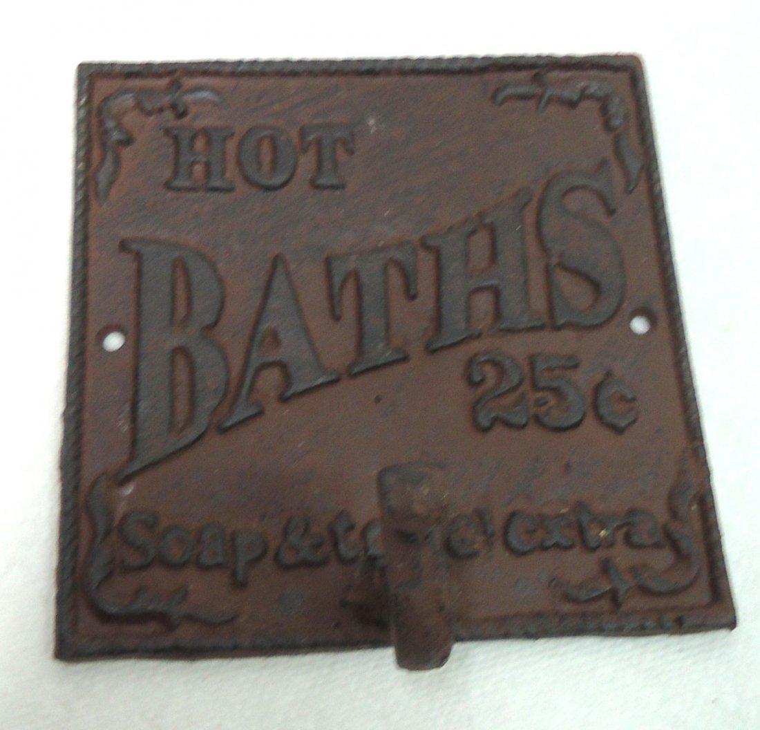 Modern Cast Iron Hot Bath's Sign W/ Hook