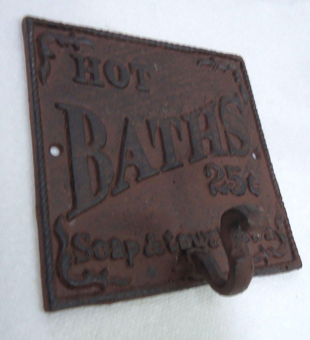 Modern Cast Iron Hot Bath's Sign W/ Hook - 2