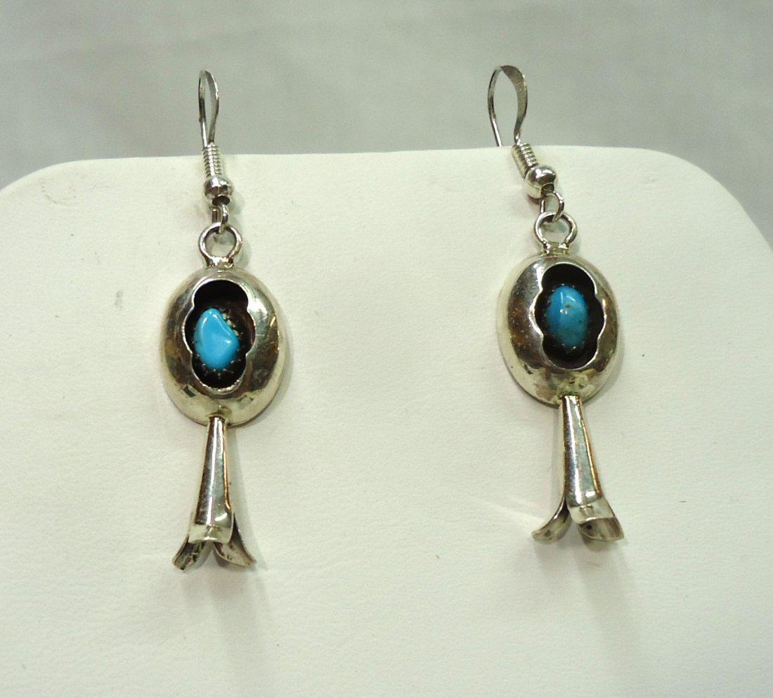 Sterling & Turq. Squash Blossom Earrings