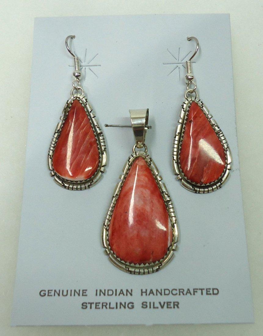 Sterling & Spiny Pendant & Earrings