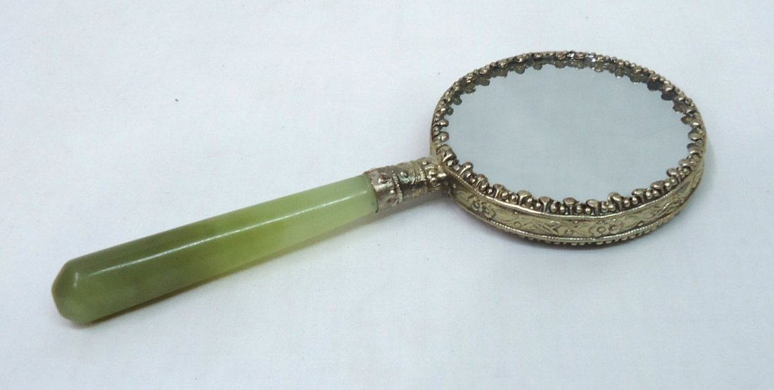 Oriental Hand Mirror W/ Jade Handle