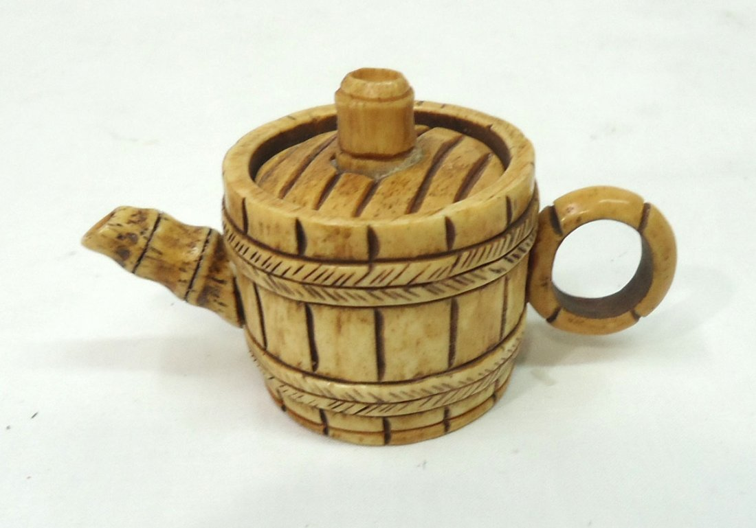 Oriental Carved Bone Mini Tea Pot - 2