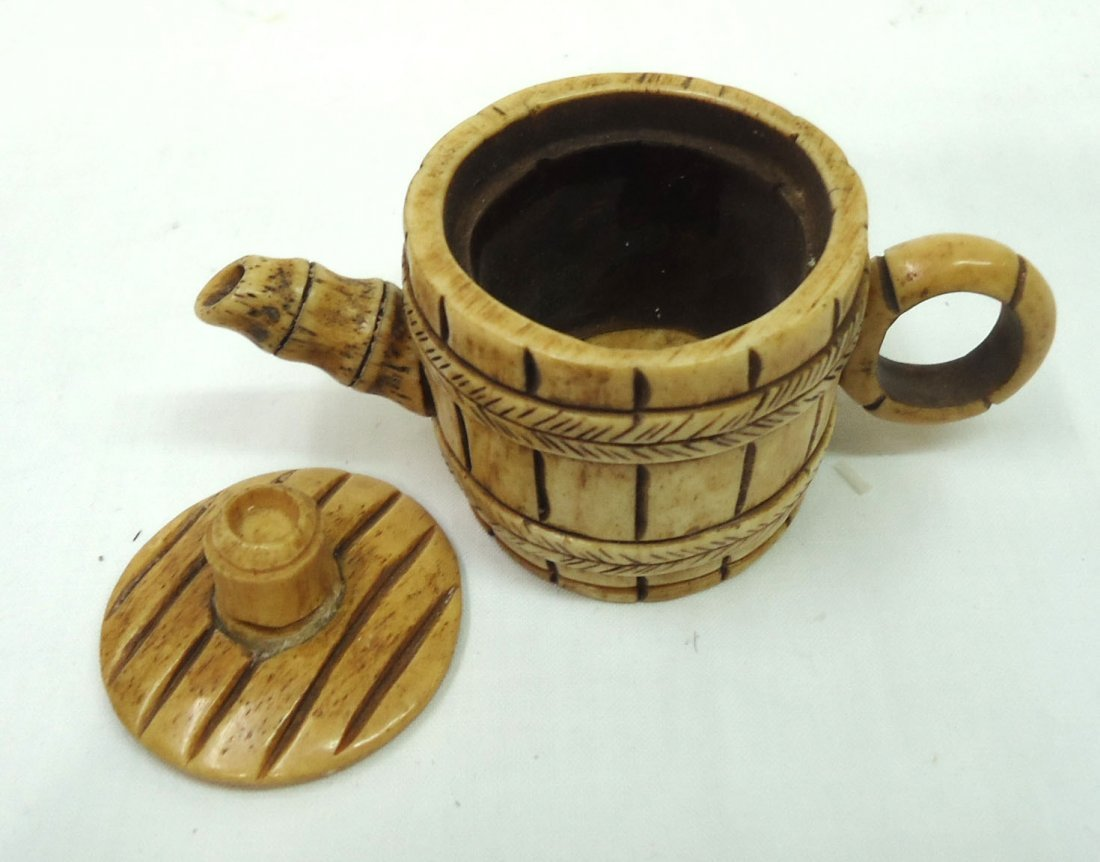 Oriental Carved Bone Mini Tea Pot - 3