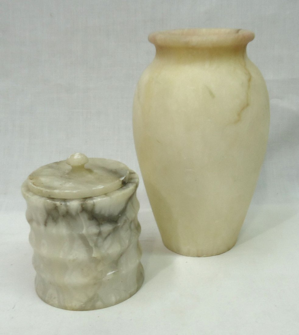 2 Pc. Marble Vase & Jar