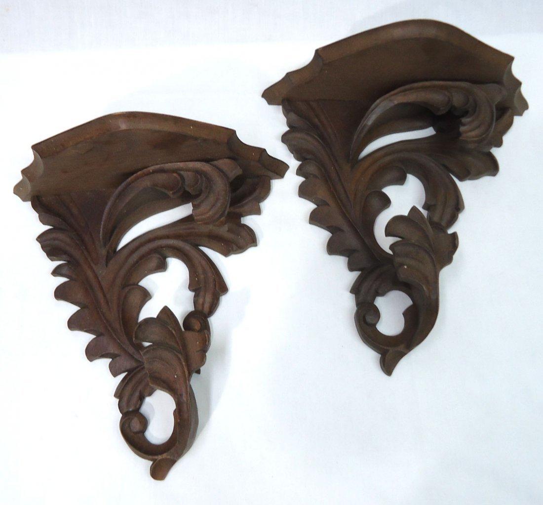Pr. Carved Wood Victorian Wall Shelves