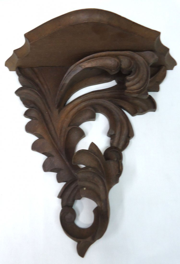 Pr. Carved Wood Victorian Wall Shelves - 2