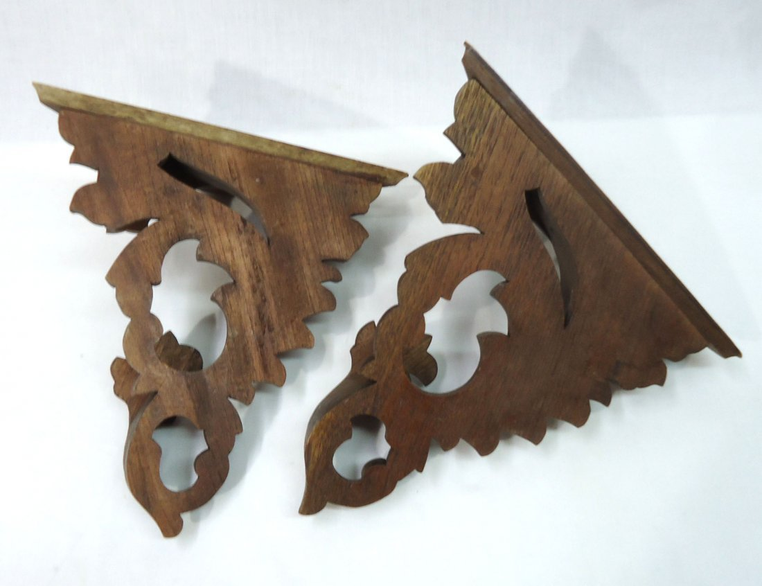 Pr. Carved Wood Victorian Wall Shelves - 3