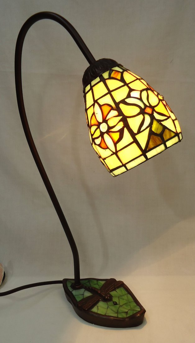 Desk Lamp W/ Leaded Glass Shade