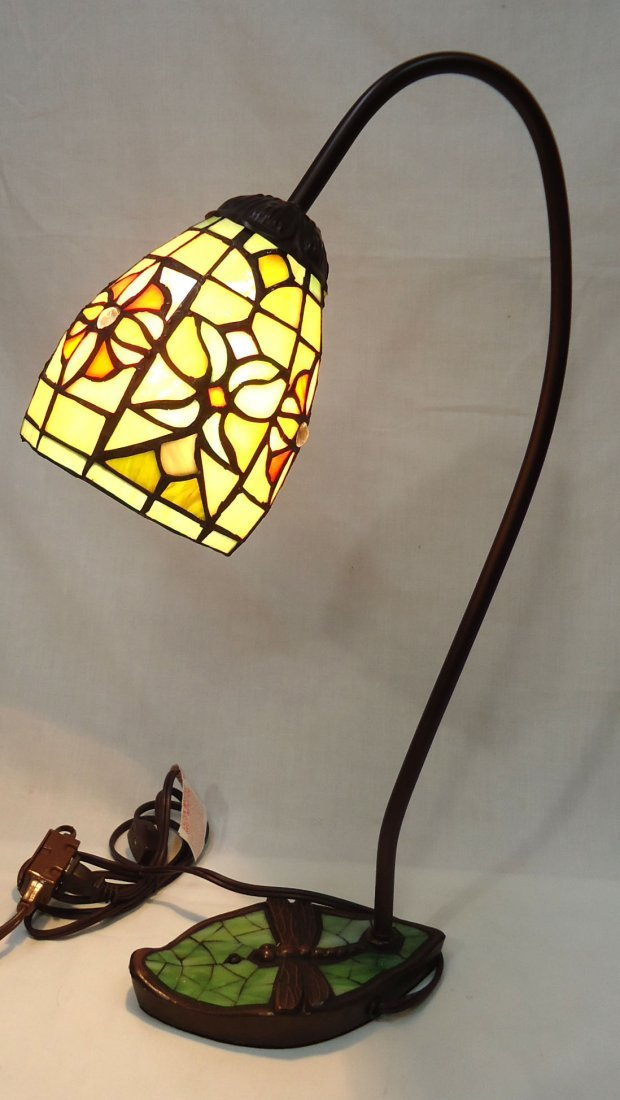 Desk Lamp W/ Leaded Glass Shade - 3