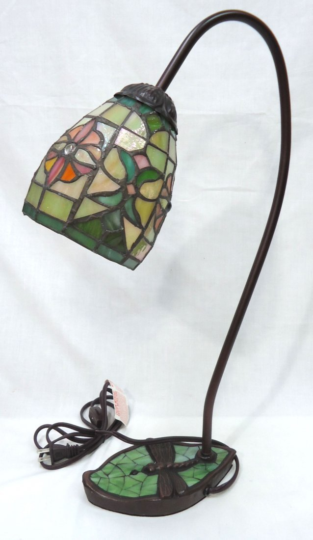 Desk Lamp W/ Leaded Glass Shade - 4