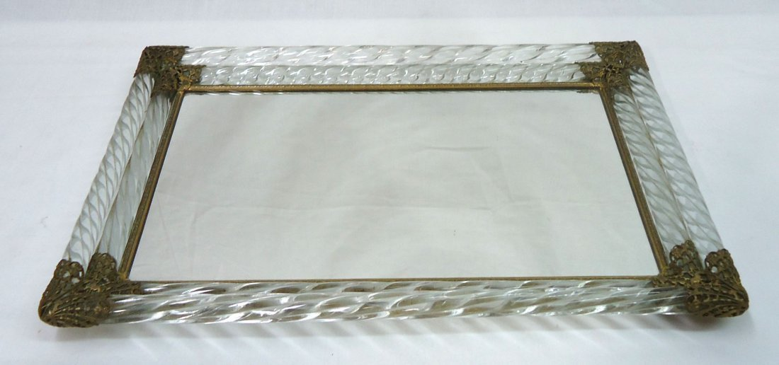 Ornate Glass & Brass Dresser Tray