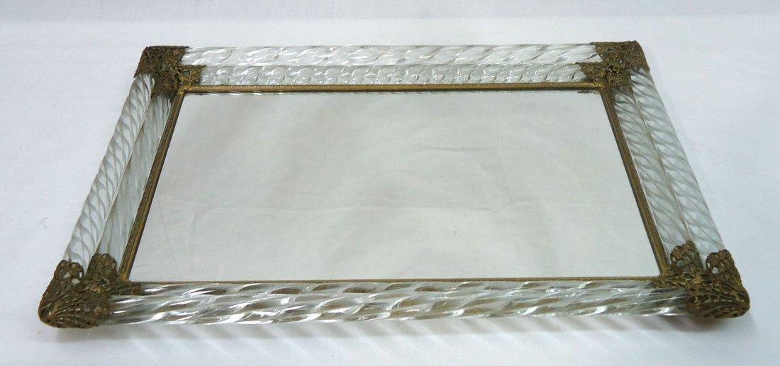 Ornate Glass & Brass Dresser Tray