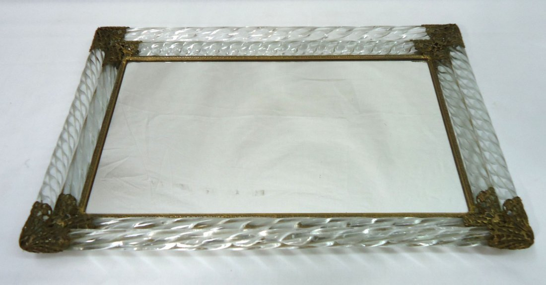 Ornate Glass & Brass Dresser Tray - 3