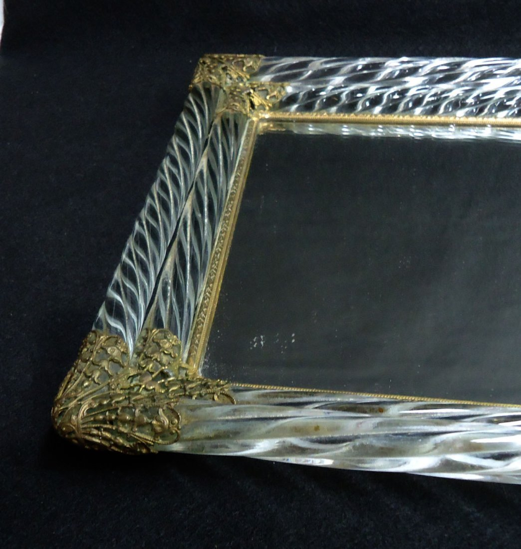 Ornate Glass & Brass Dresser Tray - 4