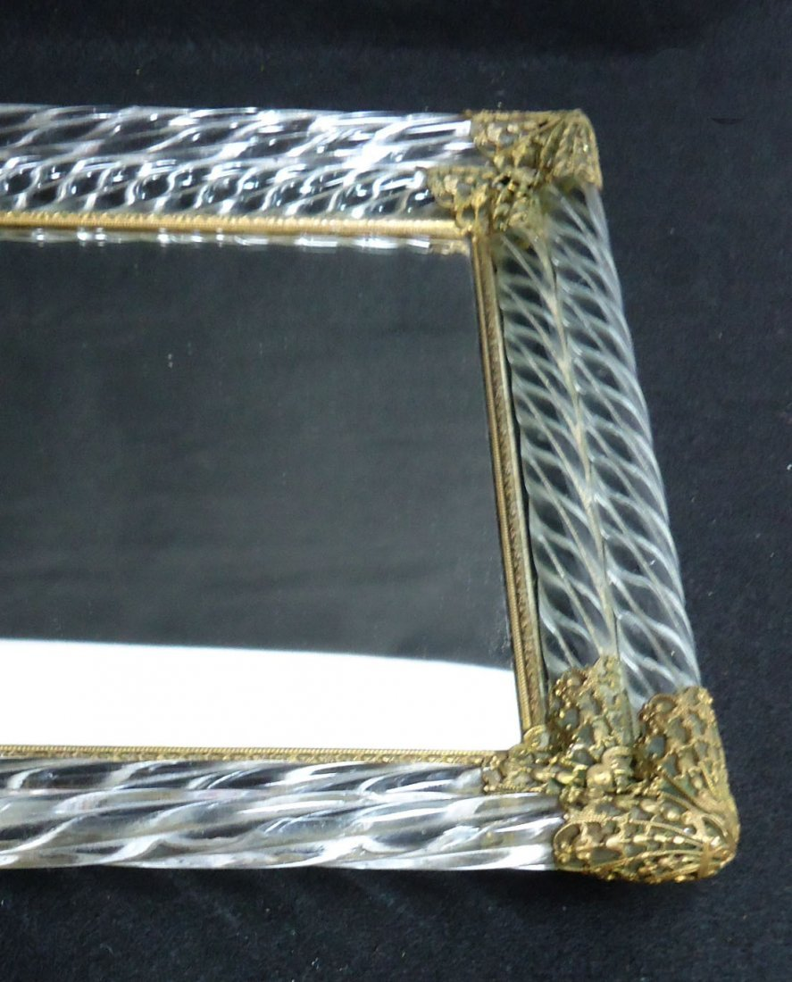 Ornate Glass & Brass Dresser Tray - 5
