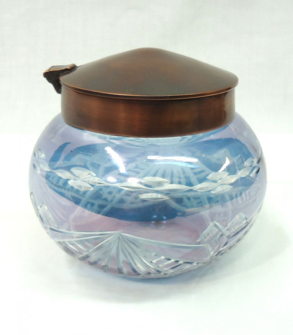 Bohemian Blue Cut to Clear Dresser Jar