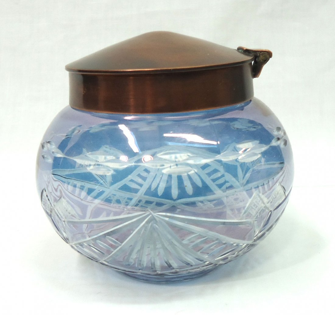 Bohemian Blue Cut to Clear Dresser Jar - 2