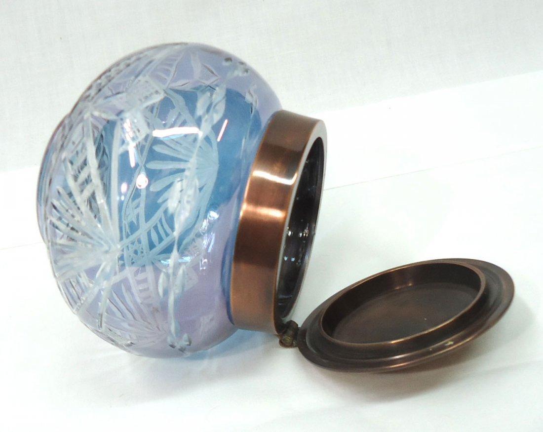 Bohemian Blue Cut to Clear Dresser Jar - 3
