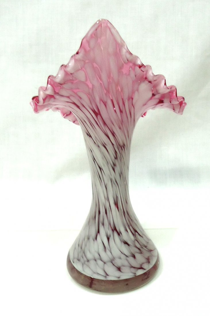 Cranberry Opal Jack In Pulpit Vase - 3