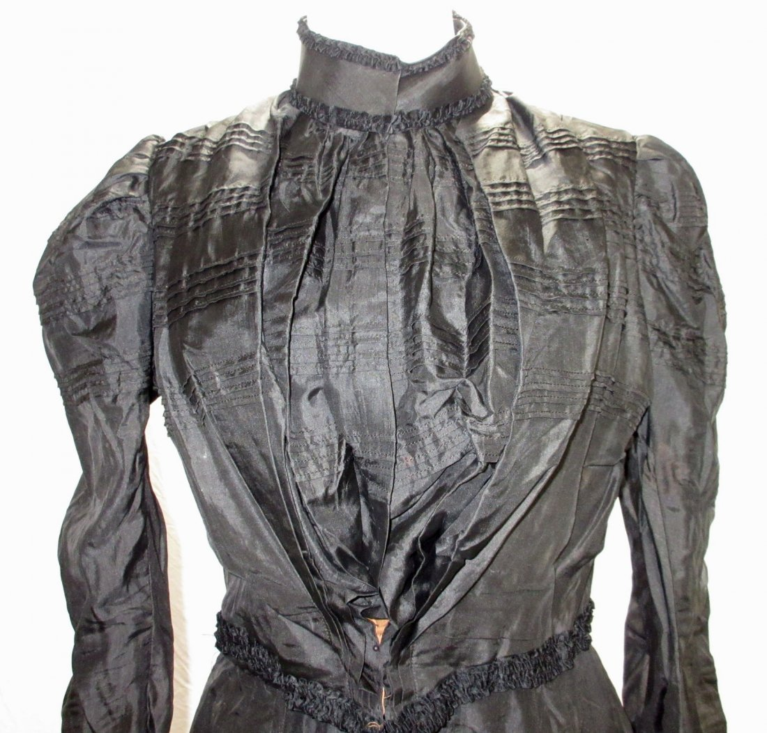 3 Pc. Black Victorian Mourning Dress - 2