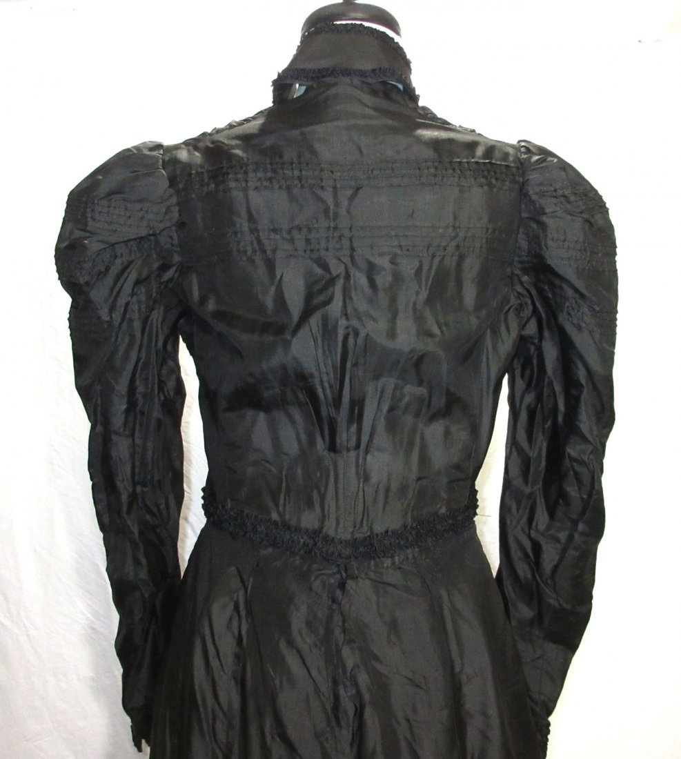 3 Pc. Black Victorian Mourning Dress - 8